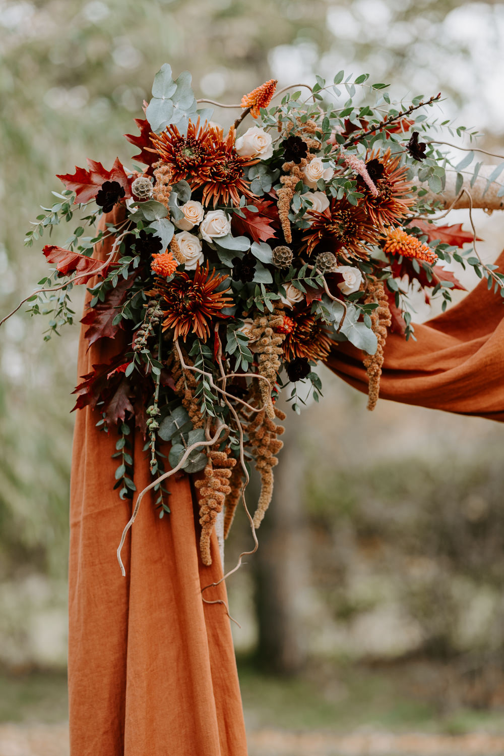 Flowers Flower Arch Orange Fabric Autumn Wedding Colours Laura Williams Photography