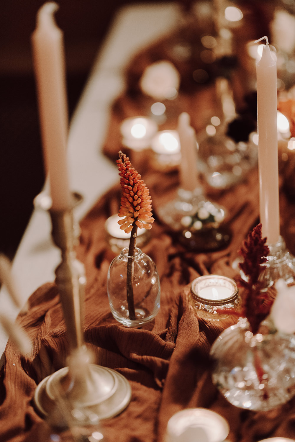 Table Tablescape Decor Candles Flowers Orange Rust Autumn Wedding Colours Laura Williams Photography