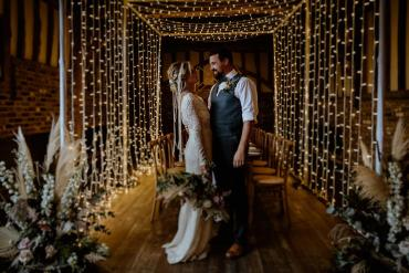Magical Barn Wedding Lights Inspiration with Fairy Light Tunnel