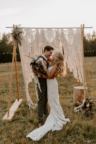 Burnt Orange Wedding Ideas Laura Williams Photography Macrame Backdrop Frame Flowers Decor