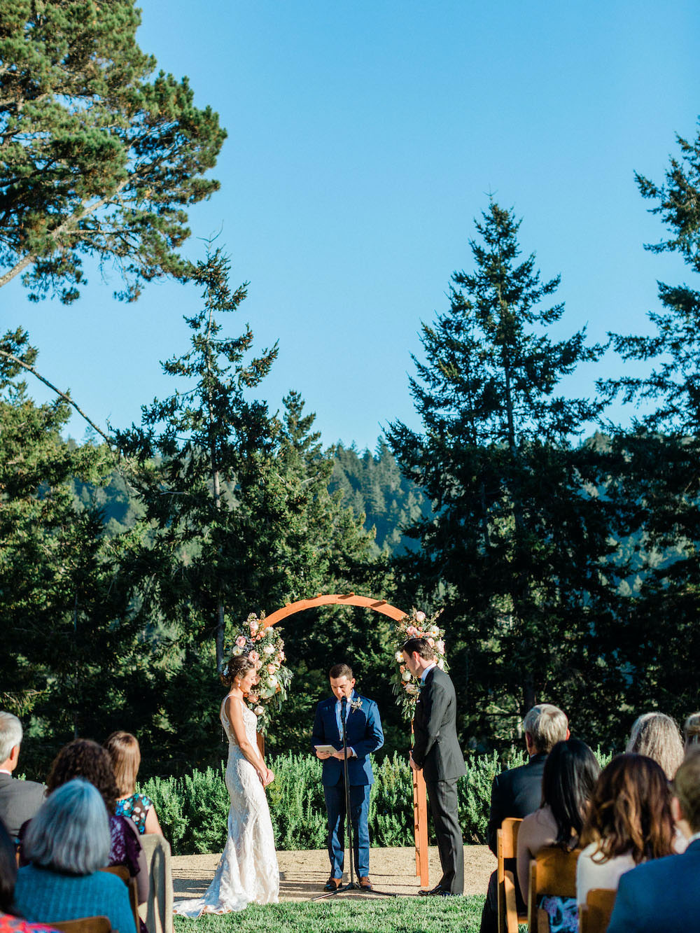 Outdoor Ceremony Flower Arch Pacific Coast Wedding Mallory Miya Photography