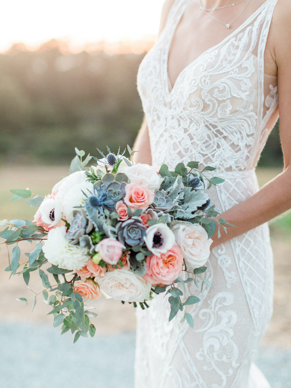Bouquet Flowers Bride Bridal Anemone Rose Succulent Pacific Coast Wedding Mallory Miya Photography