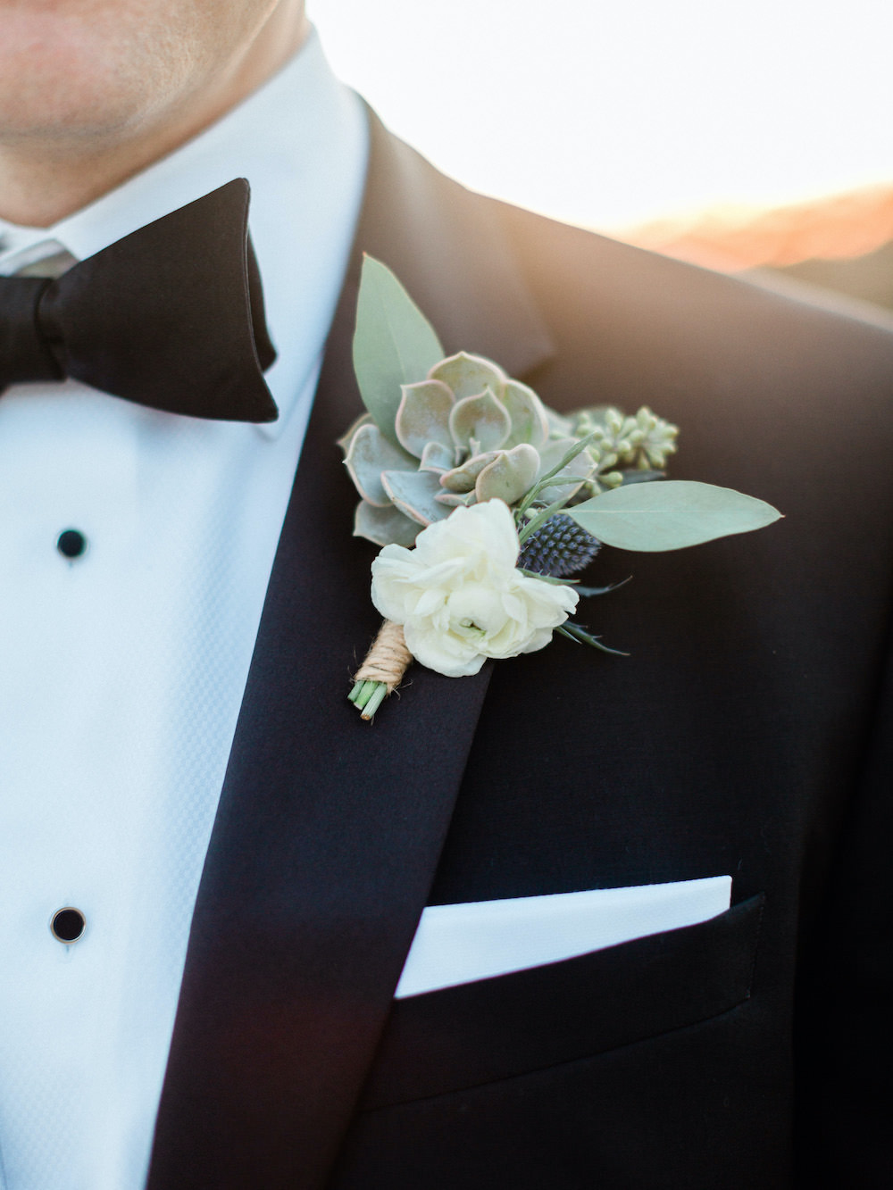 Groom Tux Tuxedo Suit Bow Tie Buttonhole Pacific Coast Wedding Mallory Miya Photography