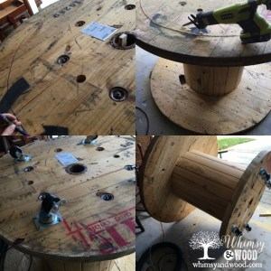 Cable Spool Patio Table Bar collage
