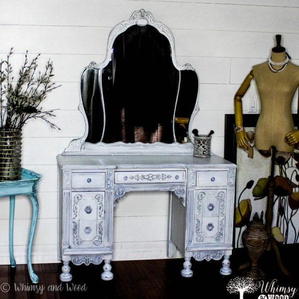 Painted antique vanity white 2