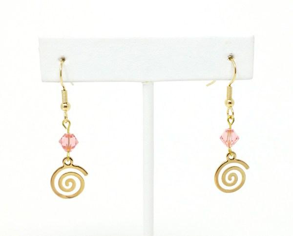 Rose Peach Swarovski Spiral Earrings