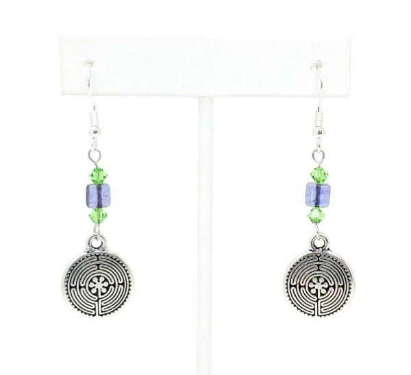 Purple and Green Labyrinth Earrings