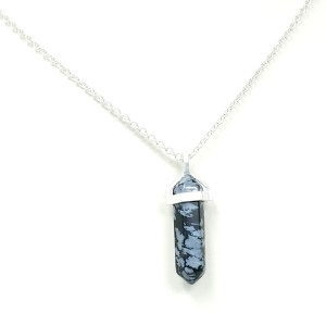 Snowflake obsidian black quartz necklace