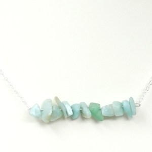 Amazonite Chip Bar Necklace
