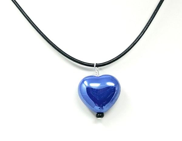 cobalt blue ceramic heart necklace