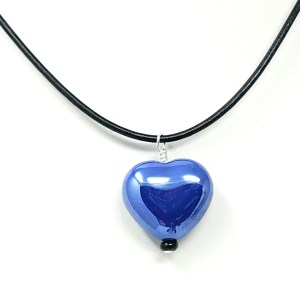 cobalt blue ceramic heart necklace