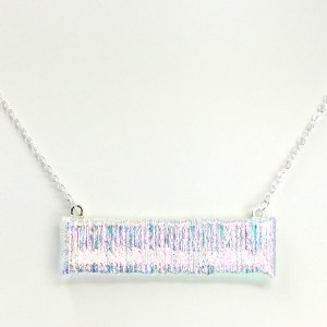 Fused Stained Glass Necklace - White Hot Electricity