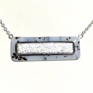Metallic Silver Fused Glass Bar Necklace