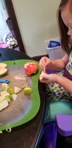 apple toothpick tower