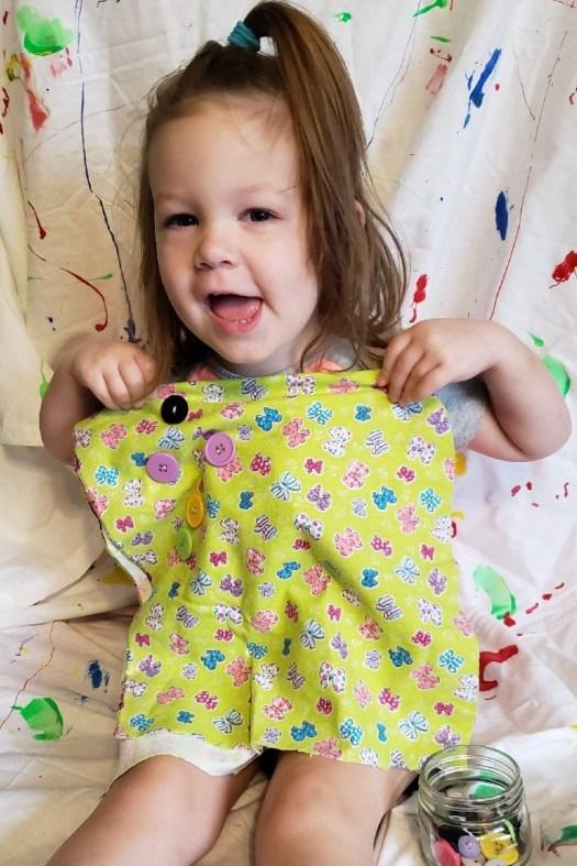 kids beginner button sewing