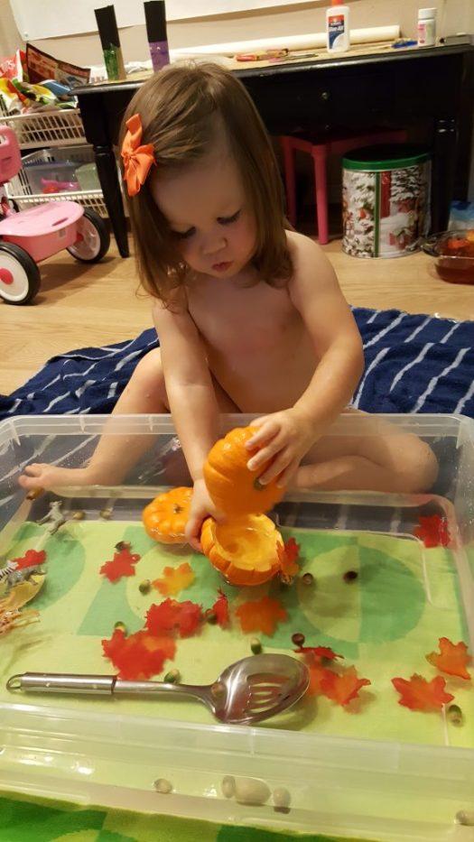 Pumpkin Water Sensory Bin