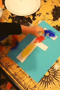 Alphabet Craft Letter F covered in Feathers