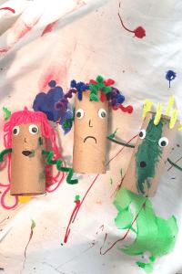 cardboard craft tube people