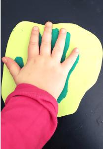 clay handprint coaster