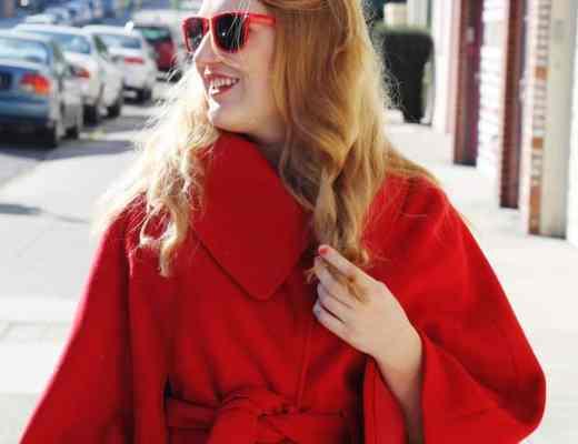red cape, red fashion cape, san francsico