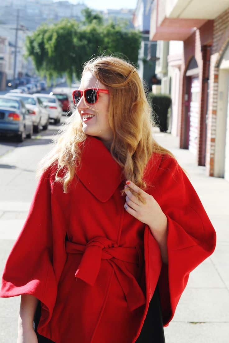 red cape, red fashion cape, san francsico