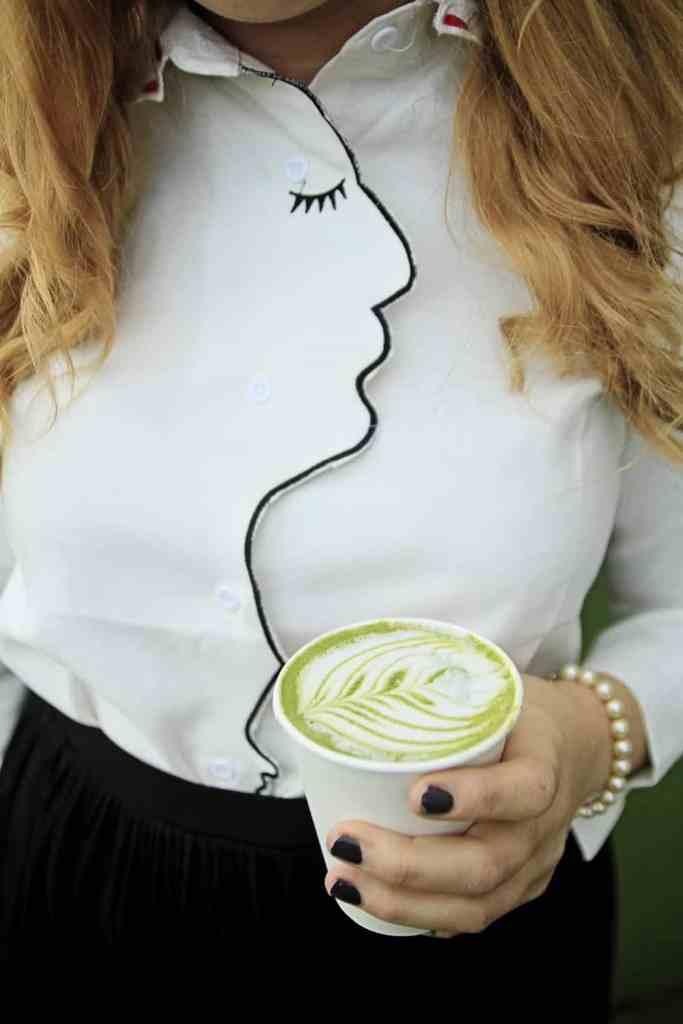 Green Tea Latte + Romwe Blouse