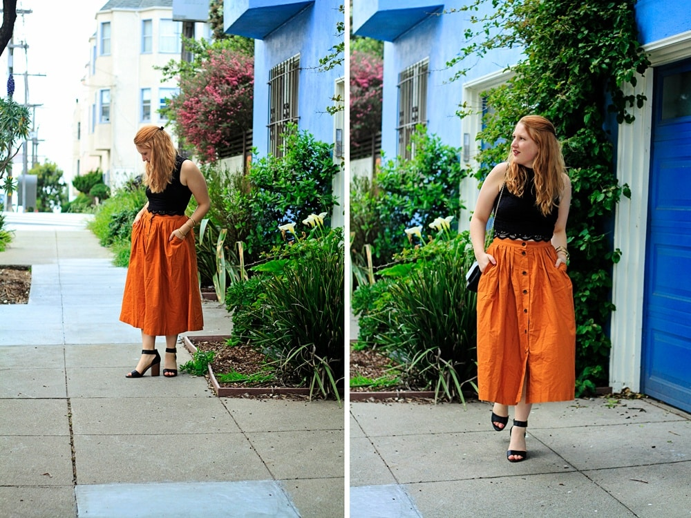 H&M Orange Skirt - Whimsy Soul