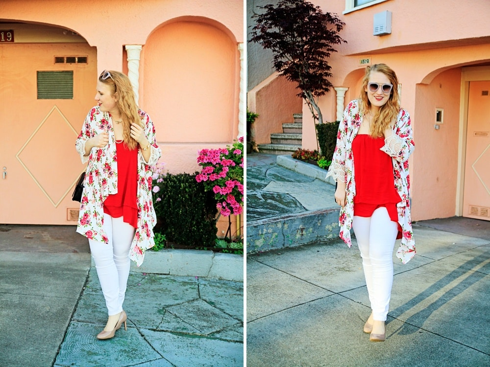 Floral Kimono and Red Swing Top - Whimsy Soul