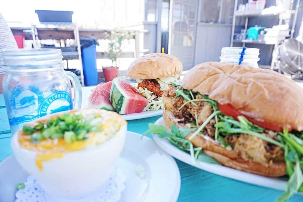 Freemont Diner oyster sandwhich and fried chicken po boy