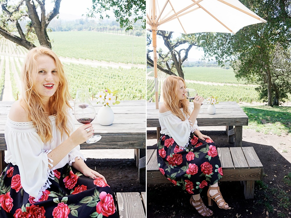 rose skirt Forever21 at Scribe Winery in Sonoma