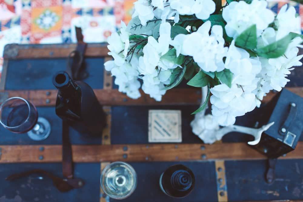 Boho chic outdoor wine tasting Kuvee Wine