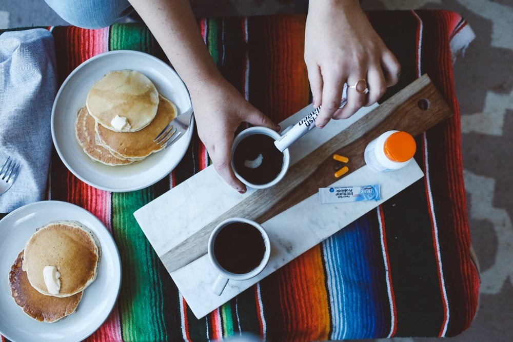 pancake breakfast in boho chic decor and Doctor's Best Vitamins