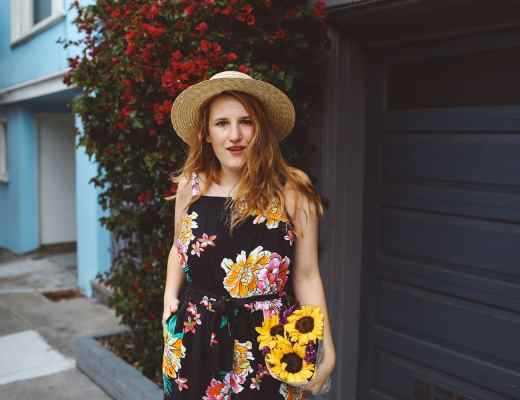 floral old navy jumpsuit, boat hat