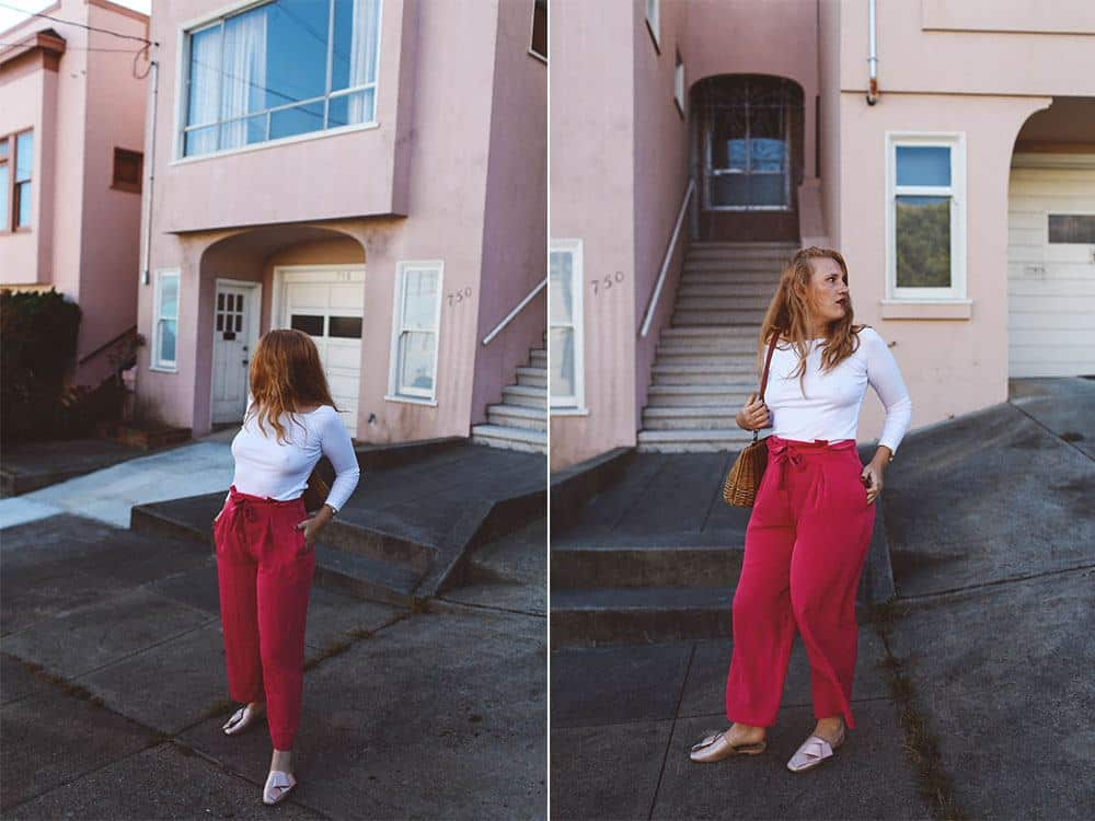 Pink paper bag pants asos, North Beach San Francisco