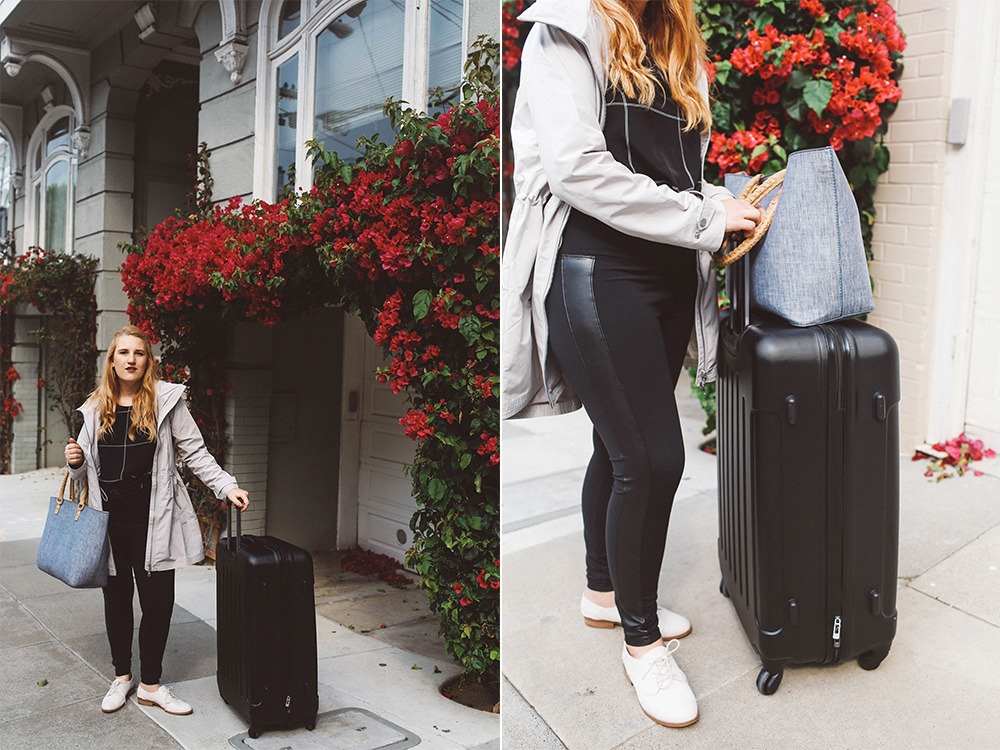 athleisure leggings suitecase travel