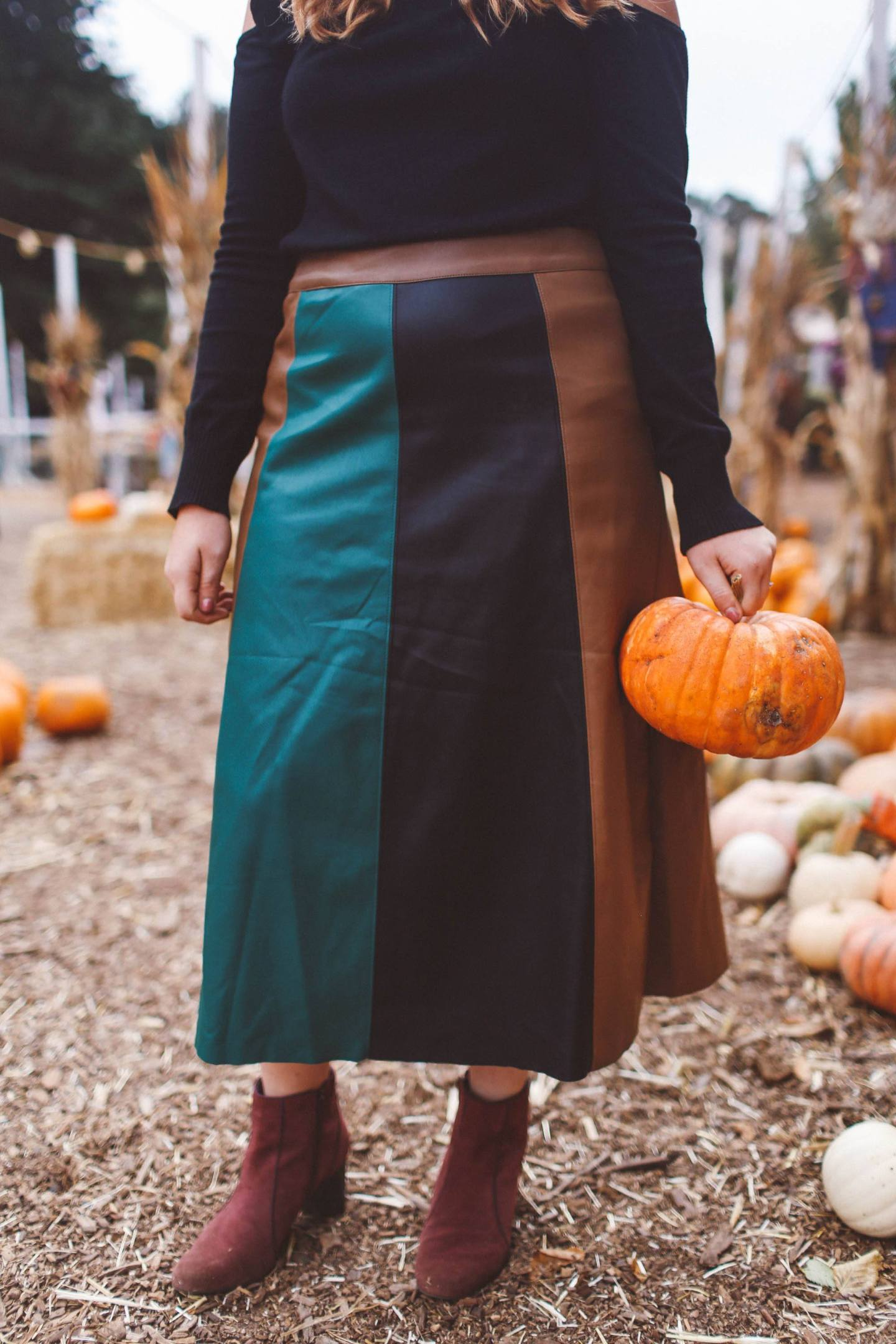 Panel skirt pumpkin woman