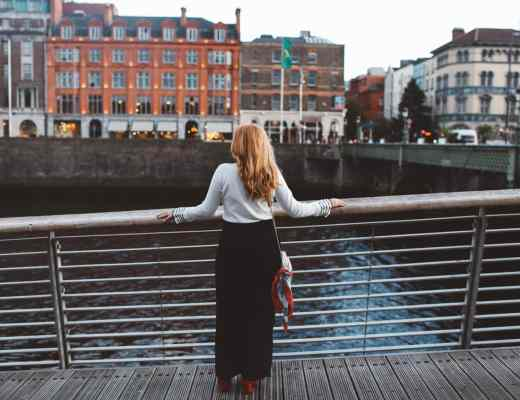 dublin ireland white sweater black pants