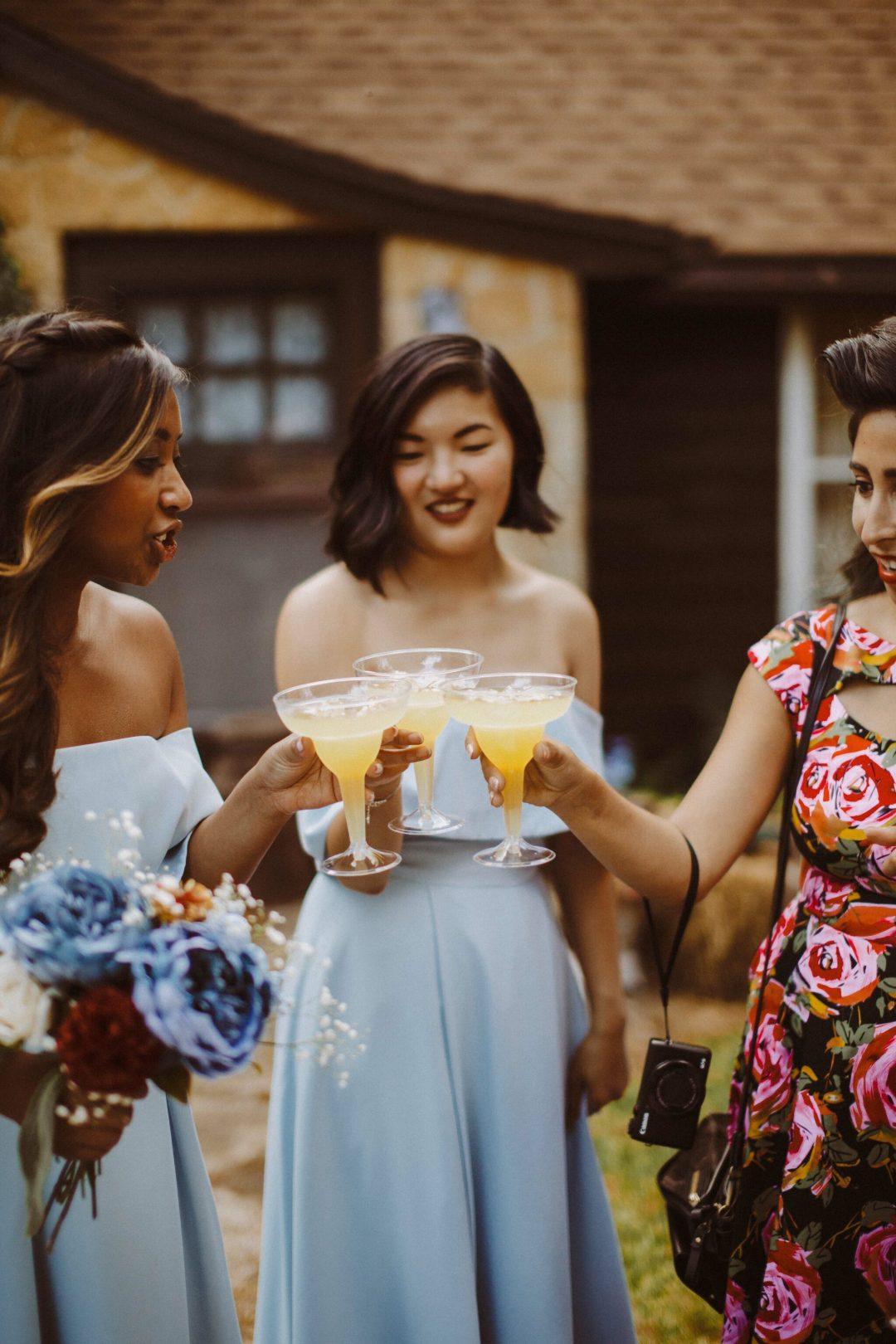 wedding cocktails bridesmaid dress blue