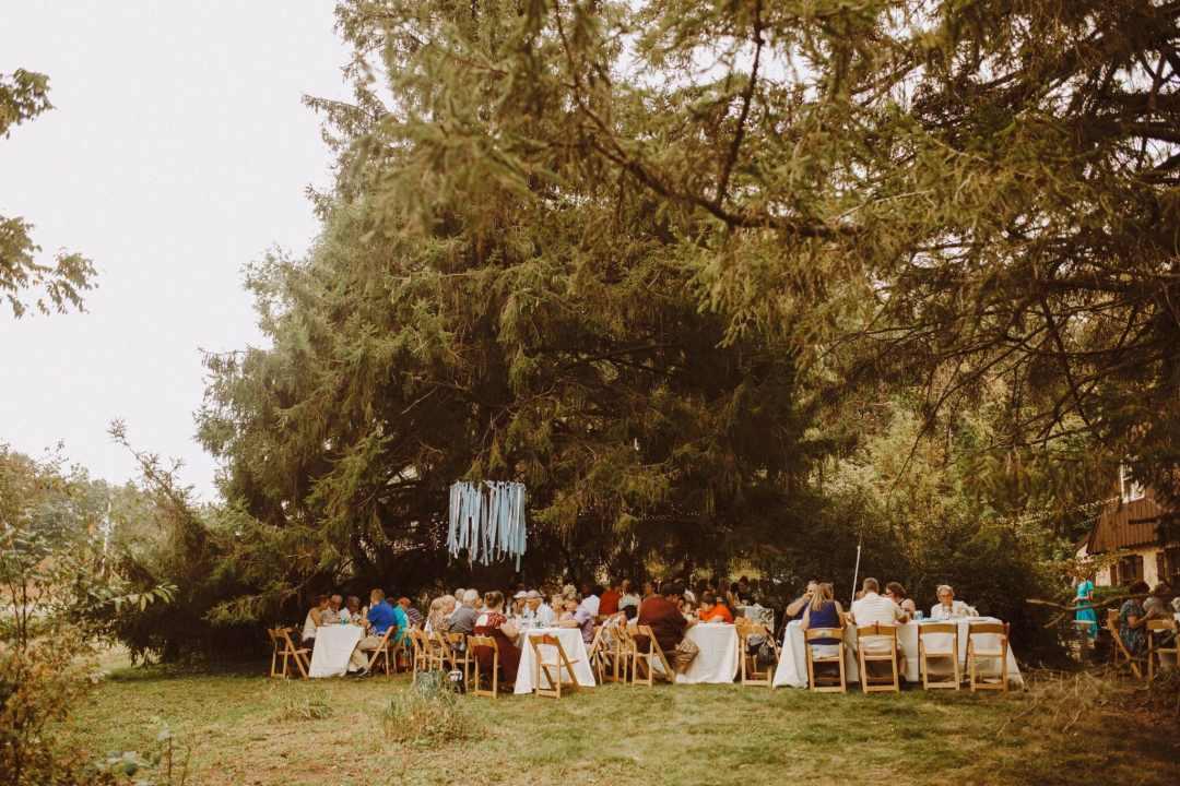 wedding outdoor woods farm boho tables