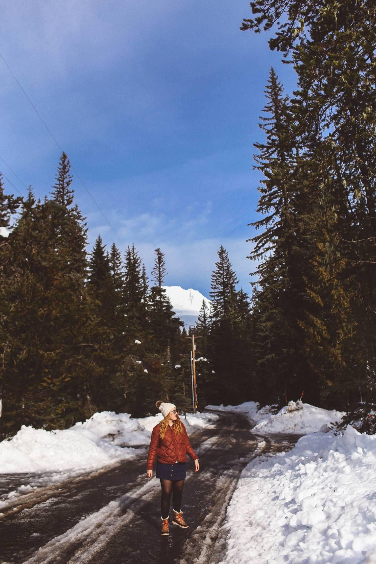 mount hood oregon red puff coat