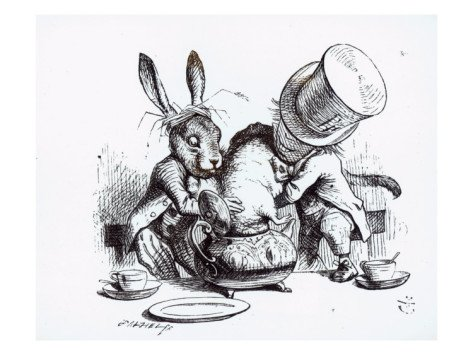 The March Hare and Mad Hatter attempt to stuff the Dormouse into the teapot