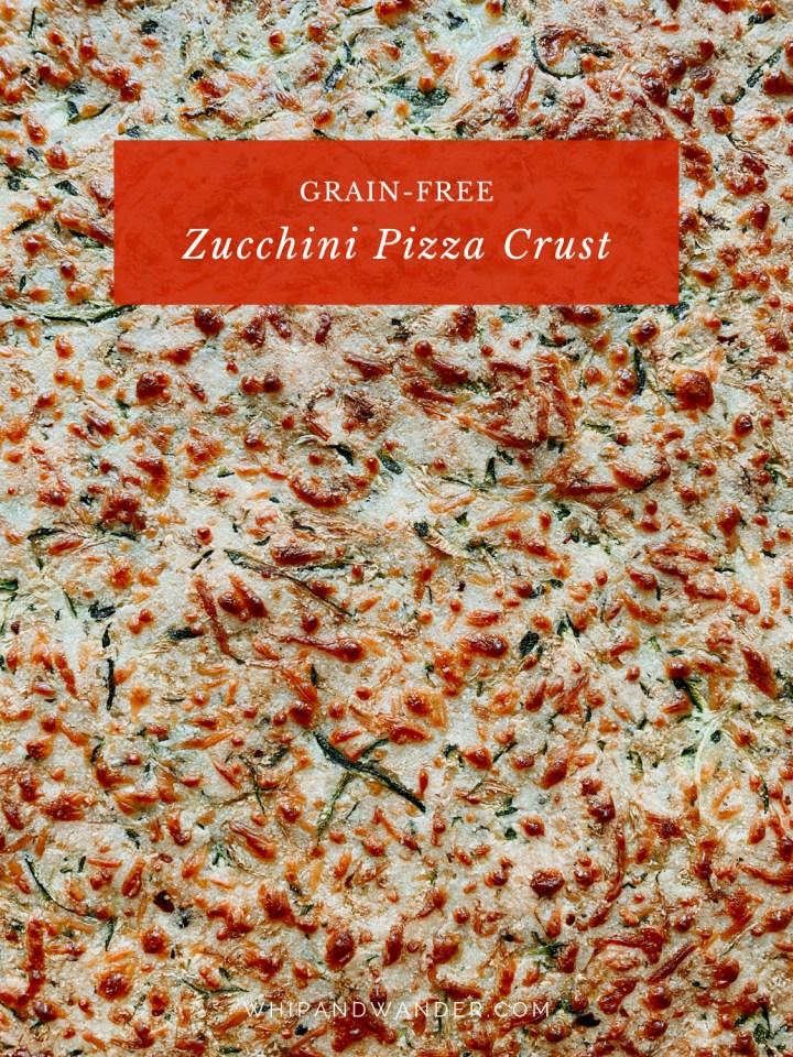 closeup of the texture of zucchini pizza crust