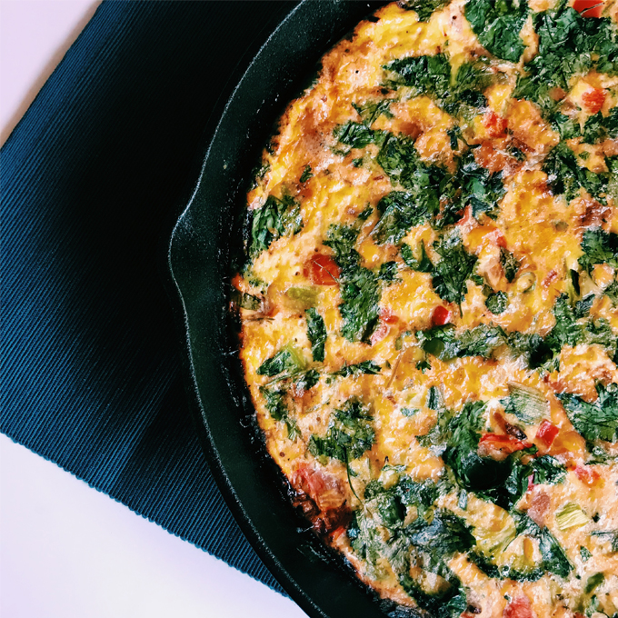 """A Kitchen Sink Frittata is stuffed with everything imaginable, or """"everything but the kitchen sink."""" It can easily accommodate Paleo, Keto, and SIBO diets."""