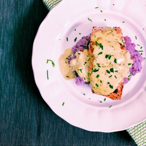 Salmon with Whisky Cream Sauce and Cheddar Mashed Cauliflower