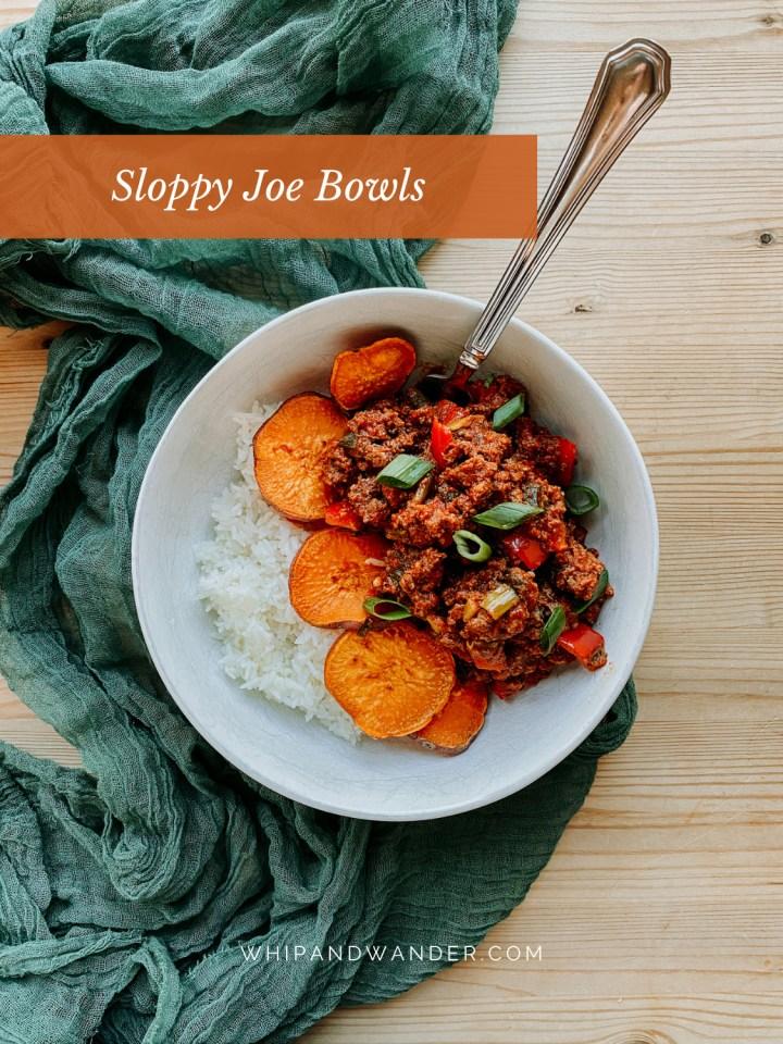 white rice with roasted sweet potatoes and seasoned sloppy joe meat