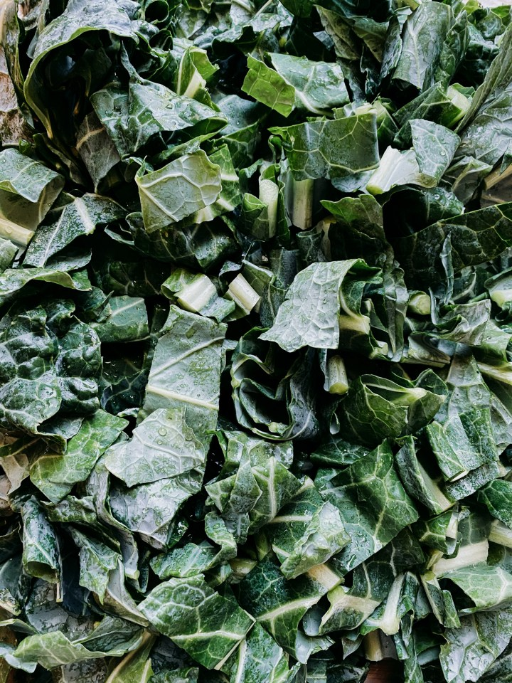 closeup of chopped collard greens that have not been cooked yet