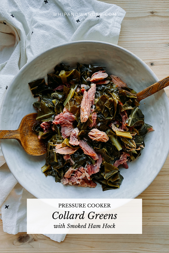 serving spoons in a white dish of instant pot collard greens with ham hock