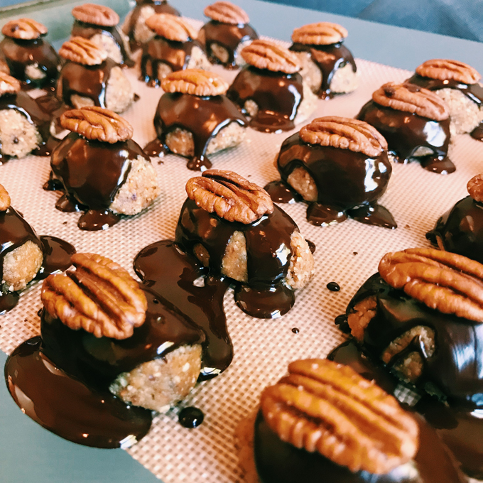 sideview of Cockroach Clusters with melted chocolate