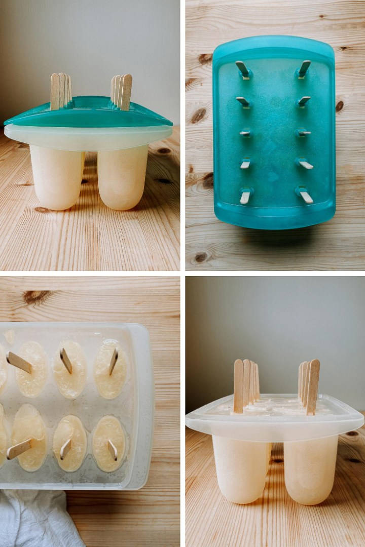 a process shot of lemon ice pops in a popsicle mold
