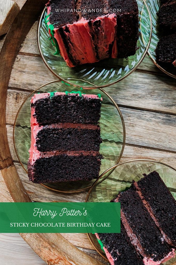 three green cake plates with slices of pink frosted gluten free chocolate cake